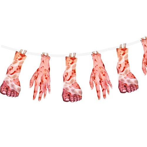 German Trendseller® - Girlande Blutige Füße und Hände ┃ 180 cm ┃ * Extra Blutig * ┃ Halloween ┃ Horror┃ (Kürbis Cupcakes Halloween Kind)