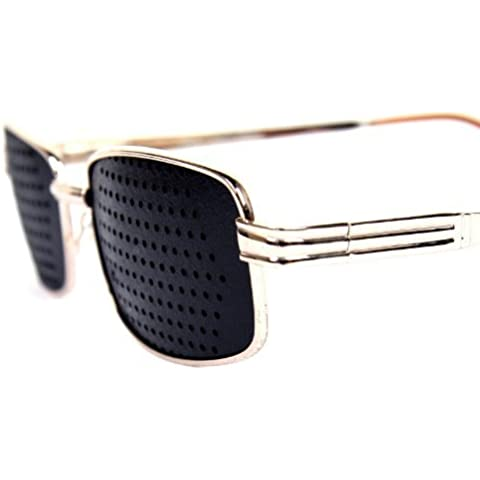 FreshGadgetz Set de 1 Nuevas gafas estenopeicas correctoras de la fatiga visual con montura de metal dorado a la moda - Gafas Estenopeicas - Gafas