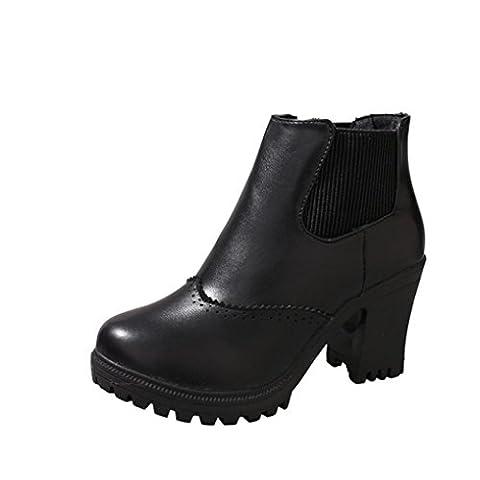 Martin Bottes Mode Elégant Dentelle Femmes, QinMM Carré Haut Talons Imperméable Plate-forme Bottines Chaussures Pompe (EU 37, Noir)