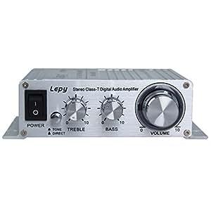 Lepy LP-2020A+ mini Auto Verstärker Hi-Fi stereo digital Audio Verstärker SNR 98dB Ausgangleistung 20W mit Energieversorgung tripath class-T für Auto KFZ Motor DVD CD Amplifier MP3 iPod silber