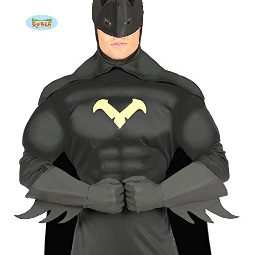 Amakando Comic Held Handstulpen - schwarz - Batman Handschuhe Superheld Kostüm Zubehör Super Hero Herrenhandschuhe Superhero Fäustlinge Batman Handschuhe (Comic Paar Kostüm)
