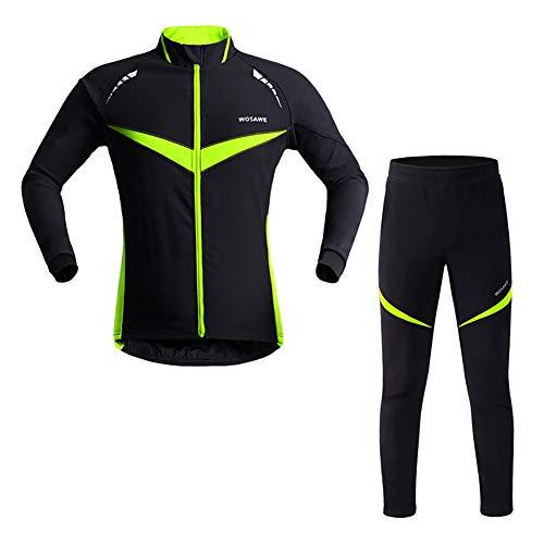 SUE Camino de montaña Unisex a Prueba de Viento Deportes Chaqueta de Ciclismo  Pantalones Conjunto Negro con Verde 68c4868858c63