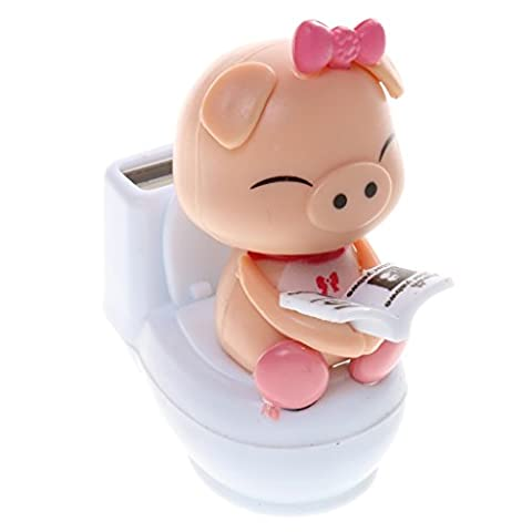 MagiDeal Cute Solar Powered Bobble Head Pig Sitting On Toilet Home Car Ornament Kids Toy Pink