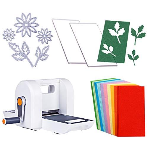 , DIY Manuelle Stanz- und Prägemaschine DIY Papier Schneiden Prägemaschine mit Präge Schneiden Schablonen, Prägeplatte, Weiß ()