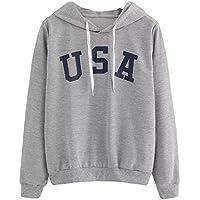 Hanomes Damen pullover, Damen Hoodie Buchstabe Flag Printed Sweatshirt Langarm Pullover Tops Bluse preisvergleich bei billige-tabletten.eu