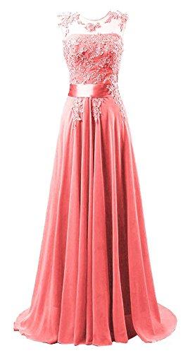 Edaier Damen Lange Chiffon Abendkleid Formales Kleid Größe 58 Koralle Rot Größe 28-kleid-formale Kleid