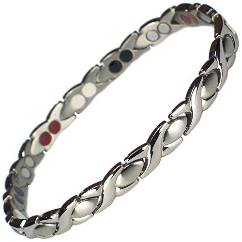 MPS® Titan 4 Elements magnetische Armband für Frauen mit Klappschließe, Leistungsstarke 3000 Gauß Magneten, und gratis Geschenk geldbörse (Armband Mit Magneten)