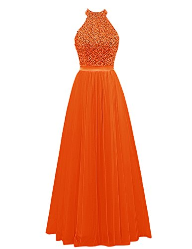 Dresstells Damen Bodenlang Abendkleider Neckholder Tüll Abendkleider Orange