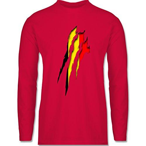 Shirtracer Länder - Belgien Krallenspuren - Herren Langarmshirt Rot