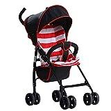 QZX Kinderwagen Kinderwagen Reisesystem Faltbar Ultraleicht tragbar Stoßfeste Räder Faltender Kinderwagen Geeignet für 6-36 Monate Baby,Red