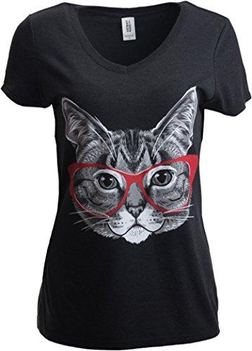 Diseño Divertido de Gatito con Las Gafas de Linda - Camiseta para Mujer con Cuello en V Medio Heather Black - Medio - M
