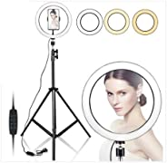 "10"" Selfie Ring Light with 210CM Long Tripod Stand & Cell Phone Holder - Ring Light for iPhone Androi"