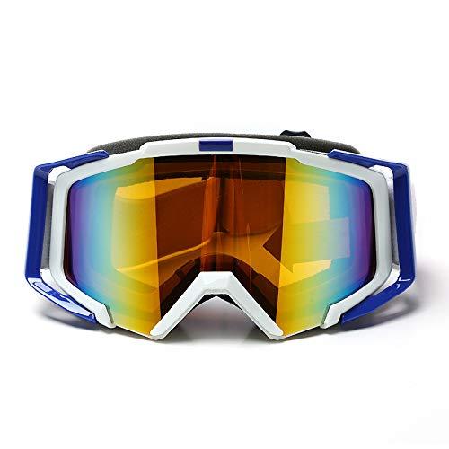 Yiph-Sunglass Sonnenbrillen Mode Frauen & Jugend - 100% UV-Schutz Radfahren Outdoor-Brille Skibrille - Überbrille Ski- / Snowboardbrille Für Männer, (Farbe : White Blue)