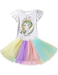 NNJXD Ragazzine Unicorn Dress Set,Stampato T-Shirt + Tutu Arcobaleno Gonna Fancy Costume Party Casual per 2-7 Anni