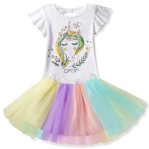 1aa74a781 Las niñas del Unicornio del Vestido Ocasional del Verano Impreso Top ...