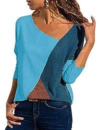 Women s Casual Color Block Patchwork Asymmetrical V-Neck Long Sleeve T Shirt  Basic Tee Blouse 9f285758b