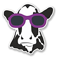 2 x 10cm Cool Cow Vinyl Sticker Laptop Helmet Car Bike Surf Girls Gift Fun #6568