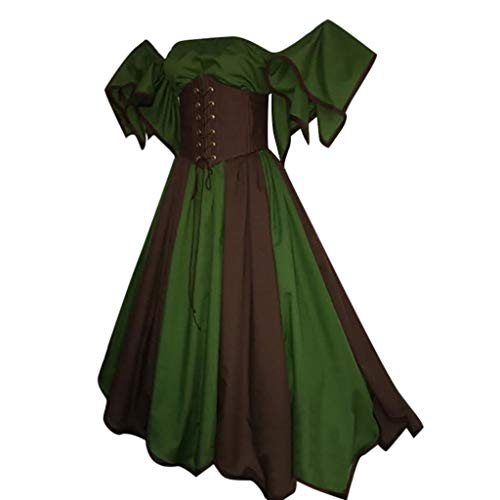 Setsail Damen mittelalterlichen Retro Gothic Style Kurzarm Princess Dress, Tutu Magic Mistress Hexenkostüm Teufelchen Cosplay Party Ostern (Grün, 3XL)