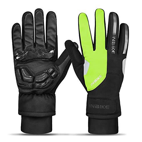 INBIKE Fahrradhandschuhe Herren Warm Radhandschuhe Handschuhe Herren Winddicht Touchscreen Reflektierend für Radsport Skifahren Motorradfahren(Grün-Lang,M)