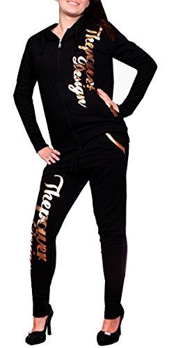 Kinder Jogging-Anzug   506 The Power Anzug   Mädchen Trainings-Anzug (M -fällt größer aus (38), Schwarz-Gold) (Armee Anzüge Für Kinder)