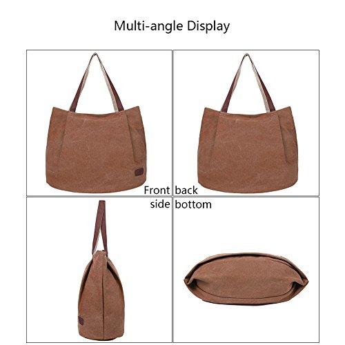 EGOGO Donna Borse a mano Tela Borse a Spalla Tote Sacchetto di Shopping Bag E523-5 (Blu) Marrone