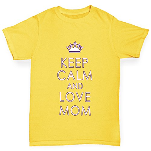 TWISTED ENVY Girl 's Keep Calm und Love Mom Neuheit Baumwolle T-Shirt Gr. Medium, Gelb (Neuheit Headcover)