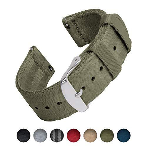 Archer Watch Straps   Cinturón de Seguridad Correa de Reloj de Nailon para Hombre y Mujer, Correa Fácil de Abrochar para Relojes y Smartwatch   Verde Oliva, 20mm