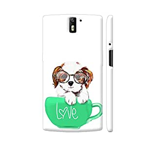 Colorpur OnePlus One Cover - Cute Dog In Green Love Mug Case