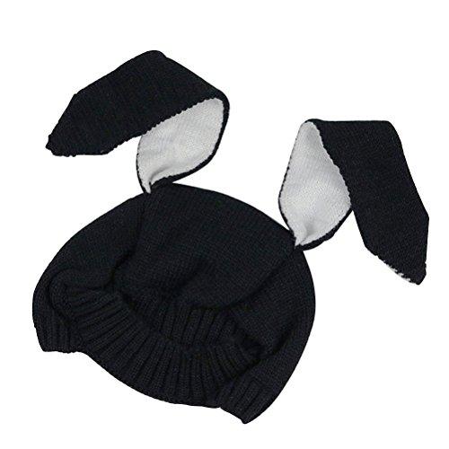 Luoem cappellino berretto invernale per neonati in maglia con paraorecchie e orecchie di coniglio per regalo e cosplay in nero