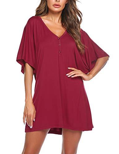 Nachthemd Nachthkleid Schwangere Sommer Schlafanzugoberteil Damen Pyjamas Kurze Ärmel Negligee Casual Rot T-Shirt - Rote Damen Nachthemd