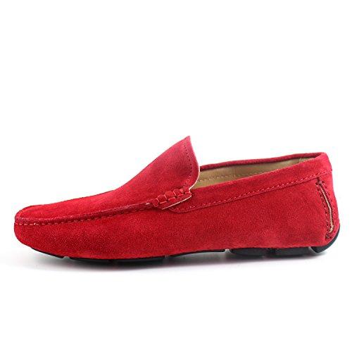 GIORGIO REA Chaussures Homme Car Shoes Rouge Mocassins Mâle Main Italiennes, Cuir, Élégant, Classique, Oxford Classic Shoes