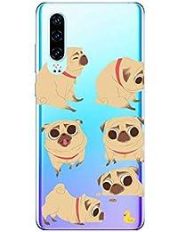 Oihxse Transparente Funda para Huawei Honor Note 10 Ultrafina Silicona Suave TPU Carcasa Interesante Perro Patrón Flexible Protectora Estuche Antigolpes Anti-Choque (A1)