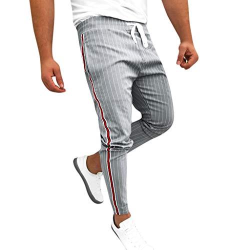 JiaMeng Casuales Pantalones para Hombre Joggers Patchwork a Rayas Pantalones de chándal con cordón Ocasionales Pantalones Largos con Bolsillos y Cintura con cordón Pantalón Jogger Hombre