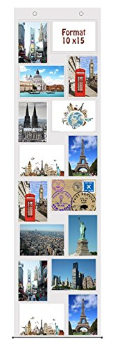 Trendfinding® Fotovorhang 10 x 15 cm mit 16 Taschen Hochformat und Querformat Foto Bilder Postkarten Format Fotowand Fotogalerie Fototaschen Fotohalter Taschenvorhang Fotos -