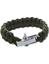 TOOGOO (R) Ajustable Paracaidistas del cable Paracord supervivencia pulsera de la pulsera w / hebilla de acero