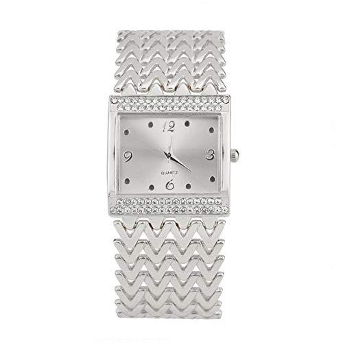 Warmhome WARM nach Hause 2PCS Moderne Einfachheit beiläufige Diamant-besetzte quadratische Quarz-Armband-Uhr (Color: : Silber)