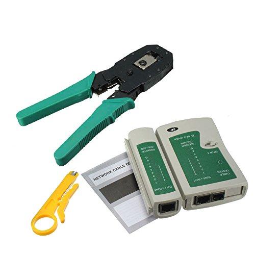 Proglam RJ45 RJ11 RJ12 CAT5 CAT5e Portable LAN Netzwerk Tool Kit Utp Kabeltester und Zange Crimper Stecker Klemme PC -