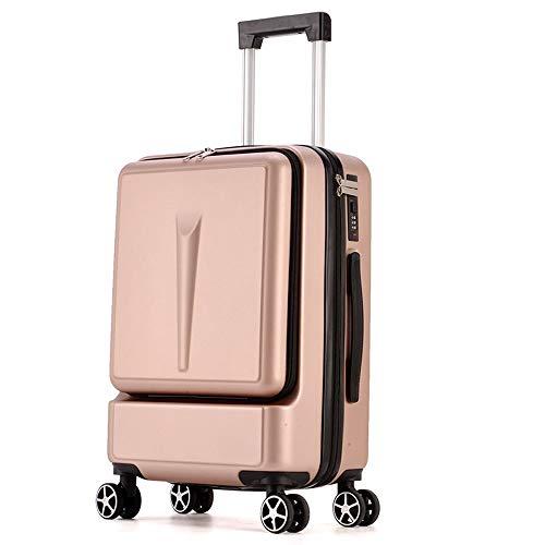 DEFfd Cassa 20 pollici / 24 pollici del carrello di imbarco della scatola di cuoio di parola d'ordine dei bagagli della ruota universale (colore : Oro rosa, dimensioni : 24 inches)