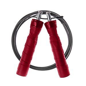 Kugelgelagertes Profi Springseil von JUNIMO. Verstellbares Stahlseil mit ergonomischen Anti-Rutschgriffen & Videoguide für dein Training mit Springseilen