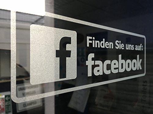 Preisvergleich Produktbild fängige Schilder Marke Deutsche Version finden Sie uns auf Facebook Social Media Glas geätzt Aufkleber für Innen Glas. Pack von zwei Aufkleber