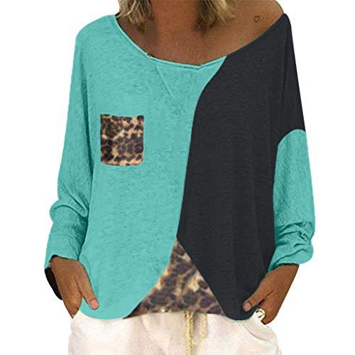 Innerternet Damen V Ausschnitt Lange Sommer Casual Farbblock T Shirt Top Bluse Oberteil Loslassen Plus Größe Sommer Tunika Hemd Bluse