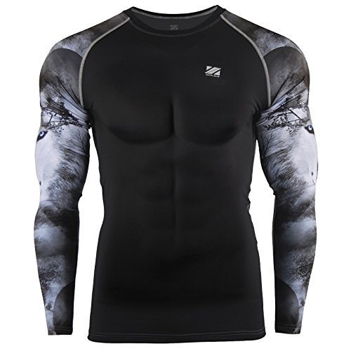 Zipravs Herren Compression-Shirt Langarm Kompressionshirt Cool Top
