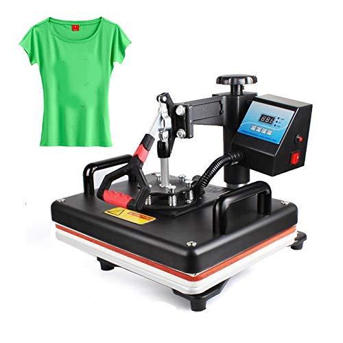 WANG Hitze-Presse-Maschine, 12x15 Zoll Hitze-Presse-Maschine T-Shirt Druckmaschine Digital-Swing-29X38 cm Wärmeübertragung Sublimation Drucker Stoff DIY