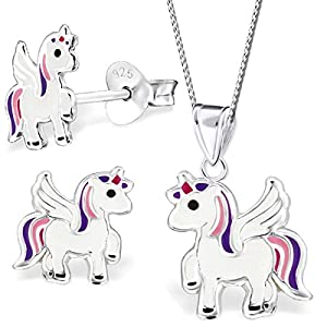 Anhänger + Halskette + Ohrstecker (K242,K200,40cm Kette) Ohrringe Einhorn Pferd Pegasus Kinder Mädchen echt Silber 925 Sterlingsilber