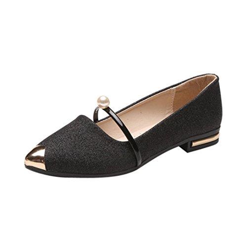 Klassische Damen Ballerinas Übergrößen Schuhe Elegante Slippers Stoffschuhe Slipper Party Schuhe Geschlossene Metallic Schuhe Spitze Schuhspitze Abendschuhe LMMVP (38CN, Schwarz)