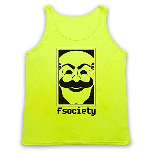 Mr Robot Fsociety Logo Tank-Top Weste Neon Gelb