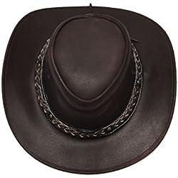 Sombrero australiano de Bush, sombrero de vaquero estilo occidental outback cuero disponible en Negro y Brown
