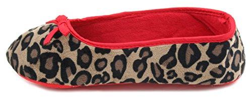 Pantofole da casa, in morbido velluto leopardato Ballet Slipper Red