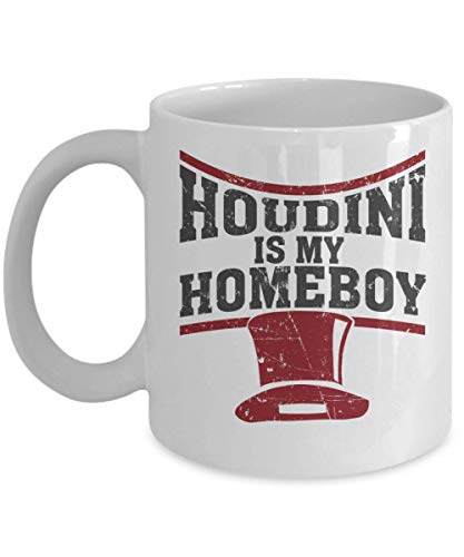 Houdini is My Homeboy Magician's Hat Coffee & Tea Gift Mug, Kitchen Items, Accessories, Party Favors, Supplies, Décor, Merchandise and Birthday Gifts for Magic Lover & Magician Men