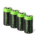 Enegitech CR123A Lithium Wiederaufladbare Batterie Akku 3.7V 750mAh RCR123A Fotobatterie für Arlo Kamera VMC3030 Taschenlampe, Kamera, Camcorder, Spielzeug Fernbedienung, 4-er Pack